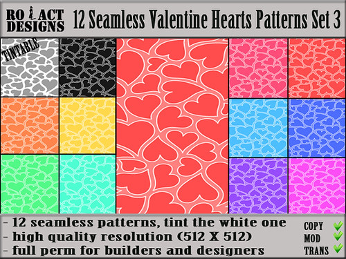 Seamless Valentine Hearts Patterns Set 3 Poster