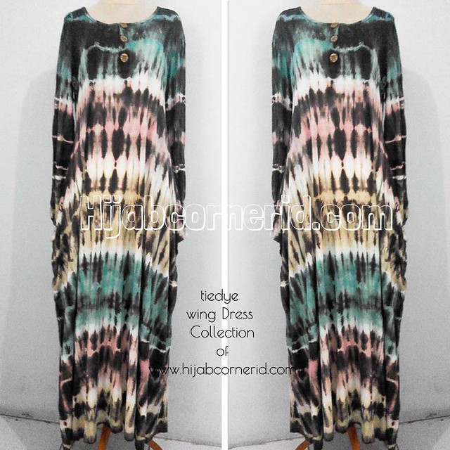 Wing Dress Tiedye Hijabcornerid Collection Black n Green Colour