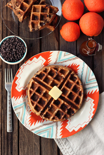 Spiced Orange Chocolate Chip Waffles (Gluten-free + Dairy-free) with Orange Spice Maple Syrup
