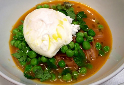 Carrot Pho, farm egg, english peas, herbs, lime