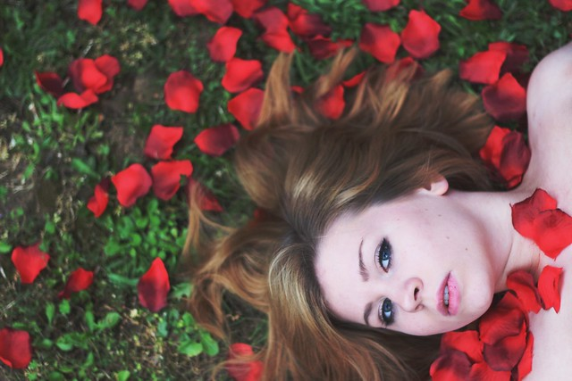 surrounded by roses