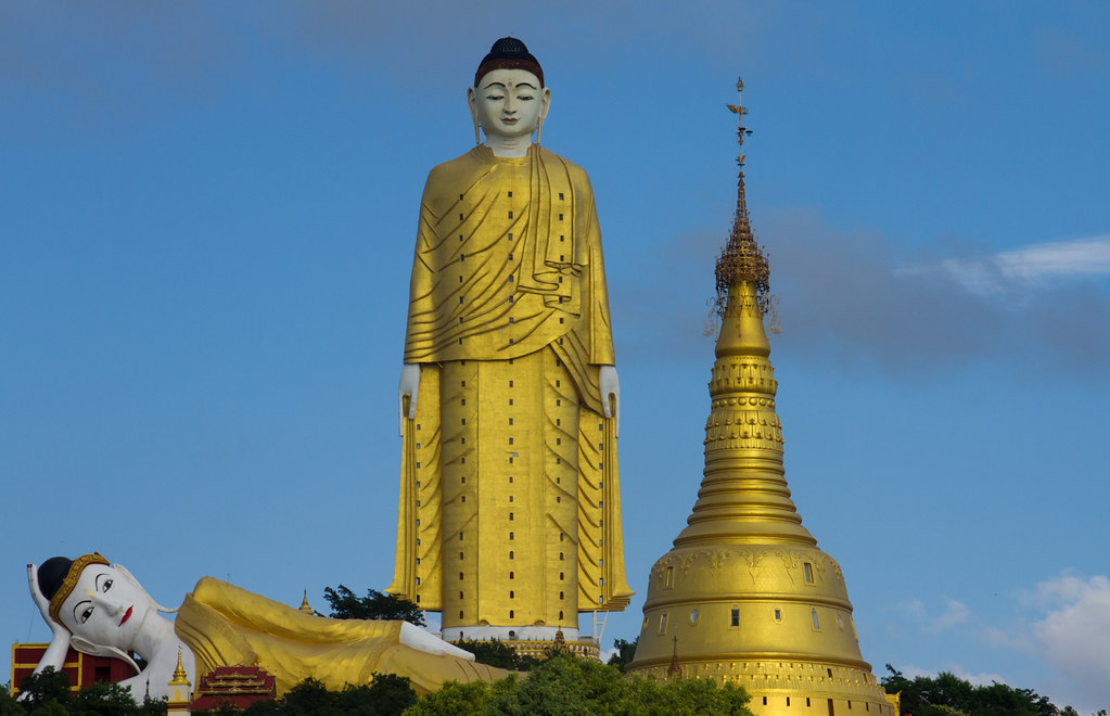 Standing Buddha, reclining Buddha and temple. Monywa #`1