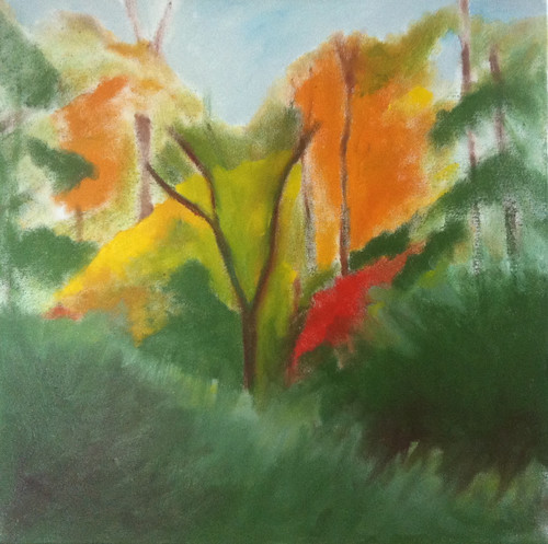 Red Leaves in the Woods (Oil Bar Painting as of May 31, 2013) by randubnick