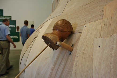 Detail from the wooden wall boil, at ICA Boston