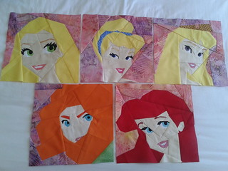 Paper Pieced Disney Princesses - sewn so far!