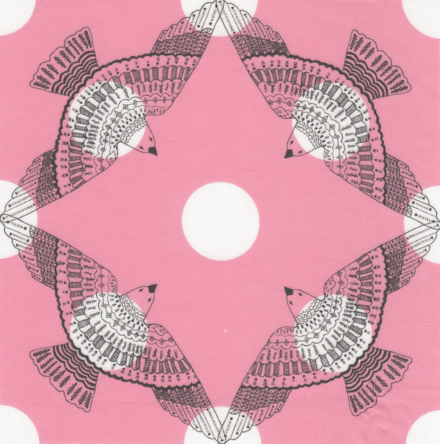 birds - polka dot, pink