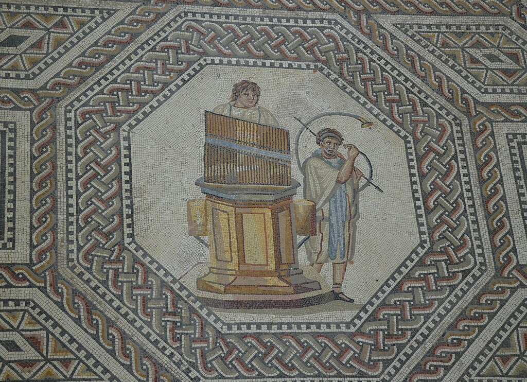 Organist and horn player, the gladiator mosaic at the Roman villa in Nennig, Germany