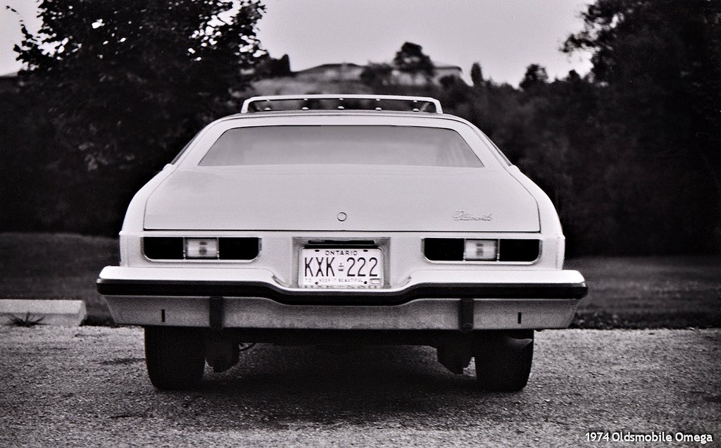 Original Black & White image of the 1974 - Oldsmobile Omega