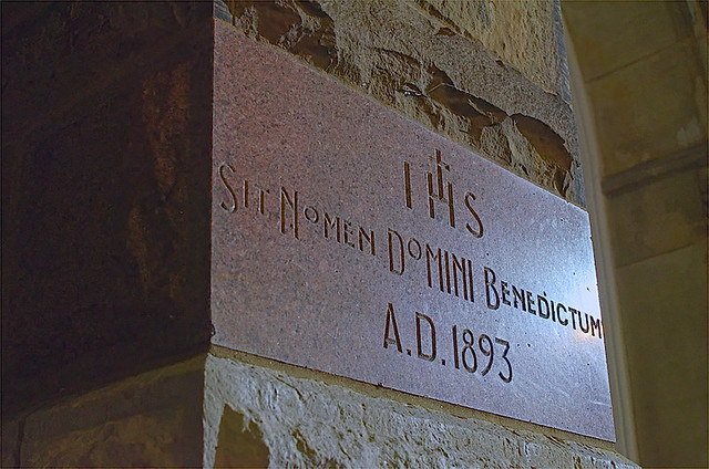Saint Mary's Church, in Alton, Illinois, USA - cornerstone at night