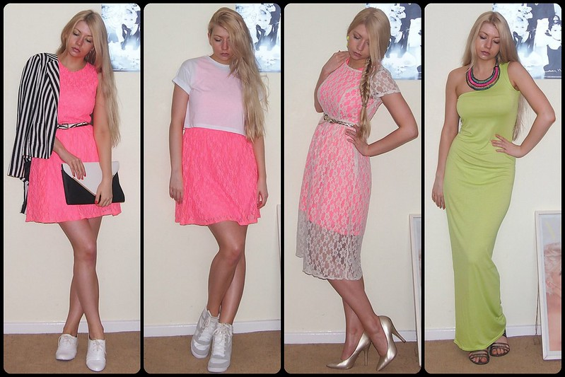 How to Wear, Sam Muses, Neon, Fluoro, Fluorescent, UK Fashion Blog, London Blogger, Monochrome, Lace, Midi Dress, Maxi Dress, Mini Dress, Tammy, Primark, Boohoo, Crop Top
