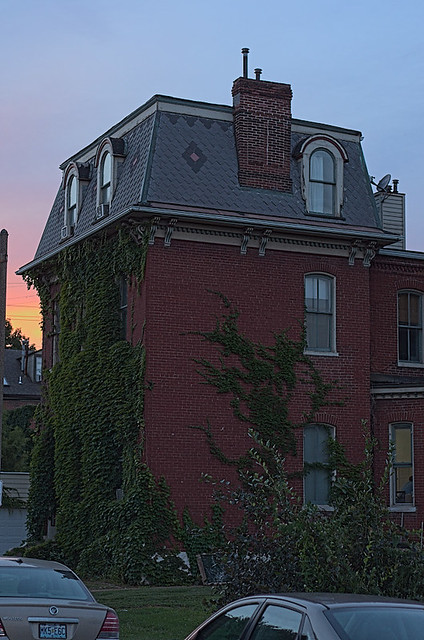 Soulard Neighborhood, in Saint Louis, Missouri, USA - Mansard home with ivy