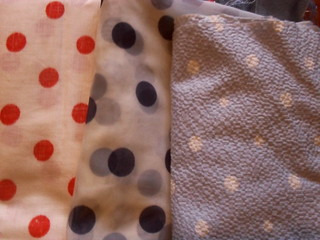 Polka dots - red/white, navy/sheer, white/pale blue seer sucker
