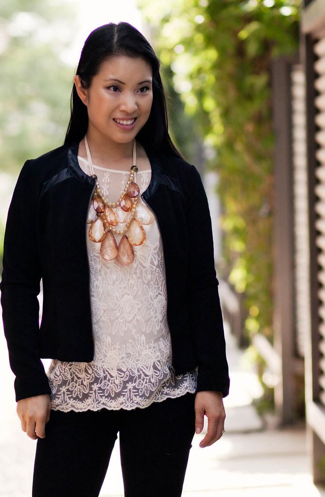 kardashian kollection moto jacket, lace stop, amrita singh teteo statement necklace #searsStyle #shop #cbias #ThisIsStyle