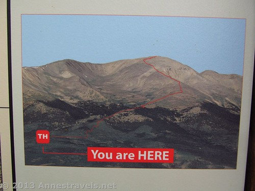 Map on a picture of the South Mount Elbert Trail, San Isabel National Forest, Colorado