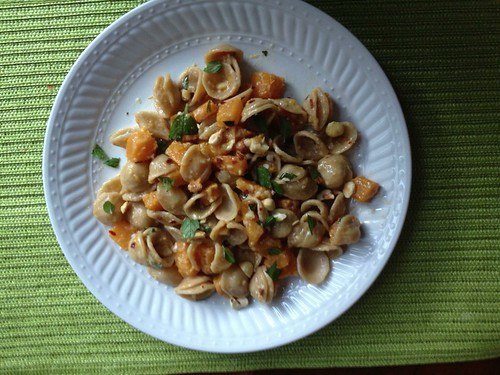 Orecchiette with squash, chiles, and hazelnuts warreneta