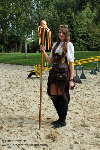 Steampunk with kraken staff
