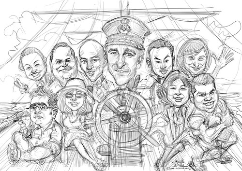 digital group caricatures for VISA International - sketch