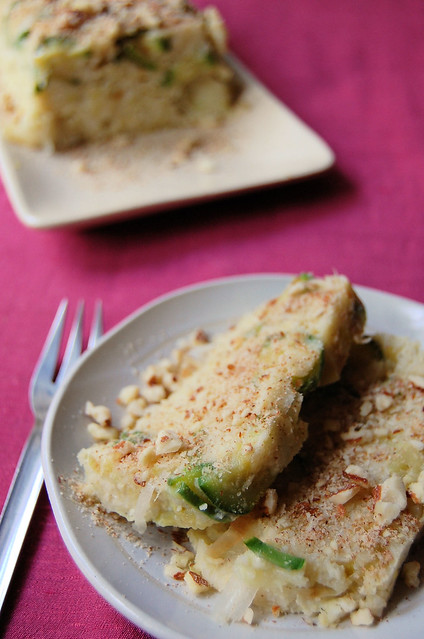 millet, leek and courgette cake
