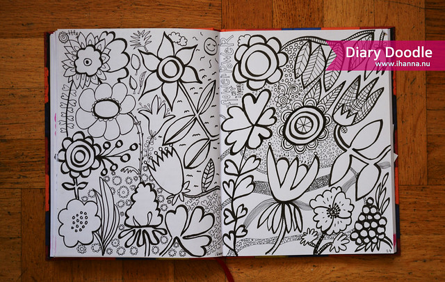 Diary Doodle coloring in flower page