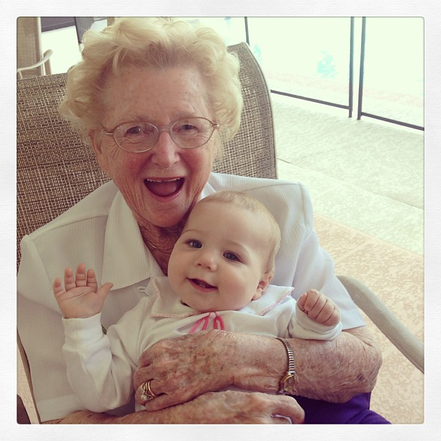 Marguerite meet Marguerite. Worth the solo flight with 3 kids to see my beautiful grandmother meet my precious daughter. #tearsofjoy