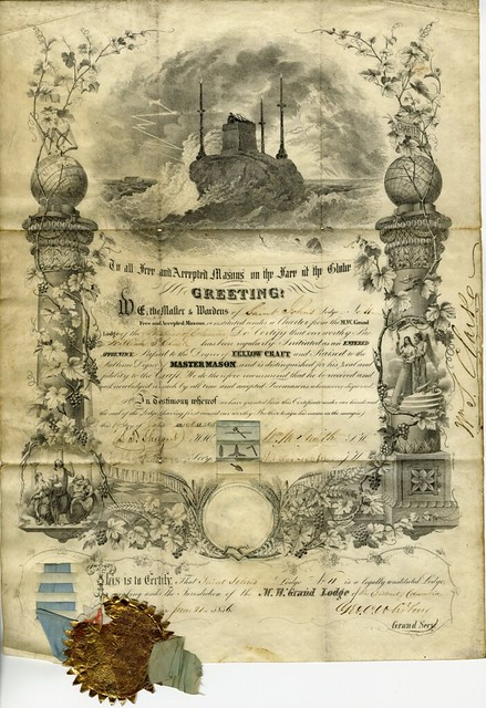 Masonic Certificate - St. John's Lodge No.11