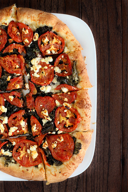 Roasted Tomato, Kale and Feta Pizza