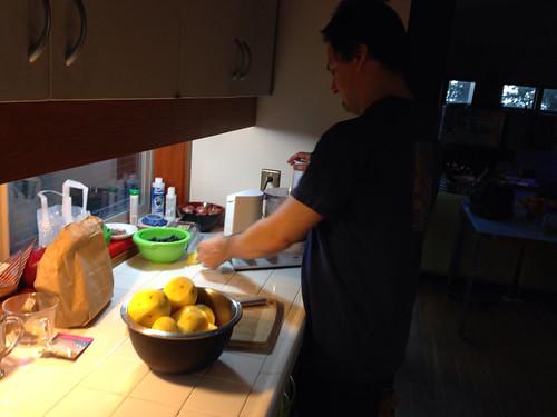 Sean helping me cook