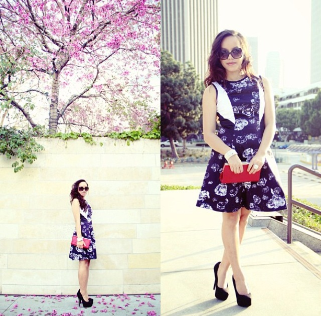 Floral fit and flare dress, black heels, red clutch