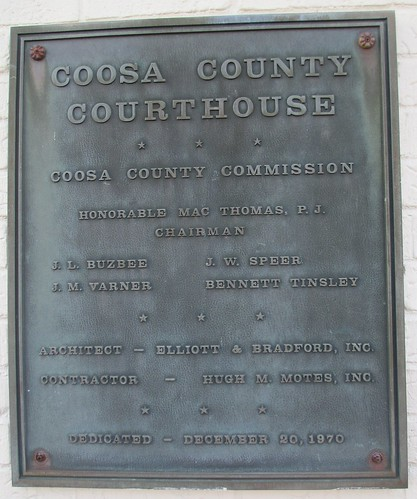 Coosa County Courthouse Plaque (Rockford, Alabama)