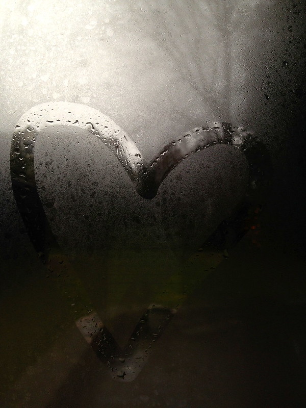 rain, rainy weather, heart drawn on misty window