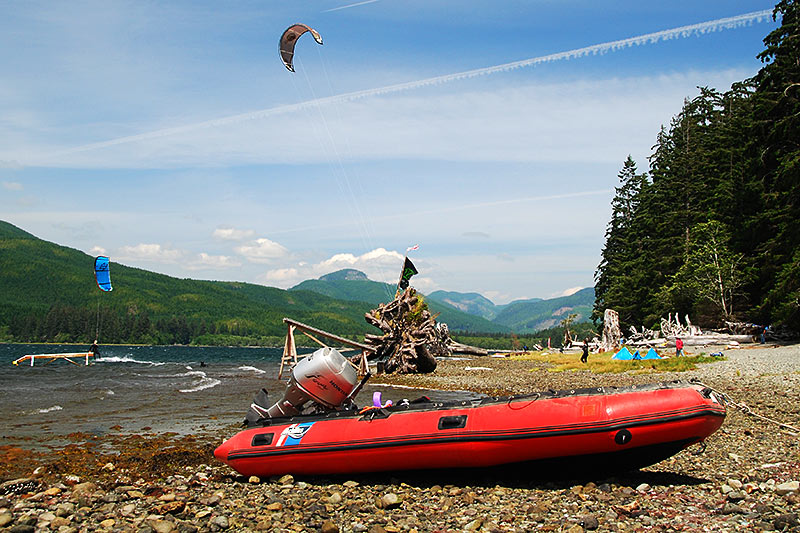 Kite Surfing at Nitinat Lake, Vancouver Island, British Columbia, Canada