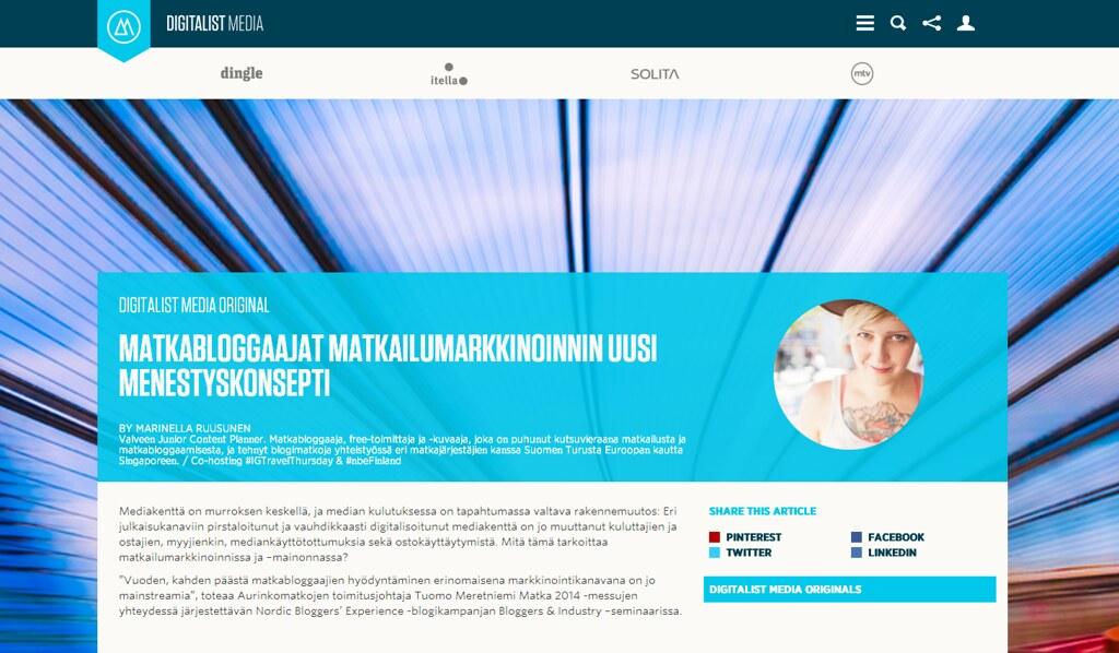 Matkabloggaajat matkailumarkkinoinnin uusi menestyskonsepti   Digitalist Network