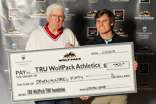 Pat O'Brien and Mike Lukow hold Norm Lamb Cheque (Feb 2014)