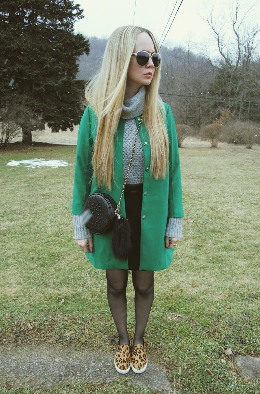 SteveMaddenLeopardShoes-NastyGalBag-LineAndDotSkirt-GreenJacket-WhyredTurtleneckSweater