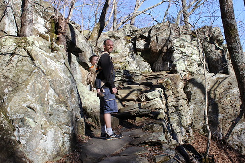 Shenandoah National Park - Whiteoak Canyon Trail - Stairs Up From Lower Falls with Sagan and Ryan