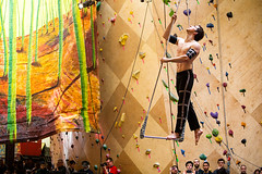 outdoor recreation(0.0), climbing(0.0), adventure(1.0), individual sports(1.0), yellow(1.0), sports(1.0), recreation(1.0), leisure(1.0), rock climbing(1.0), sport climbing(1.0), bouldering(1.0),