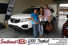 Congratulations to Kassandra Valadez on your #Kia #Sorento purchase from A.B. Meraz at Southwest Kia Dallas! #NewCar