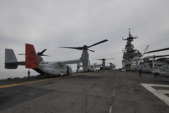 MV-22 Osprey tiltrotor aircraft stand ready on the flight deck of USS Bonhomme Richard (LHD 6), April 16. (U.S. Navy/MC2 Adam D. Wainwright)
