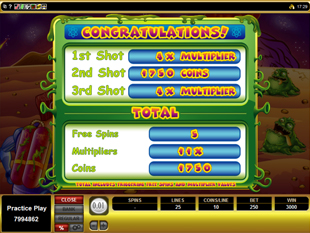 Monster Meteors Bonus Game Total Win