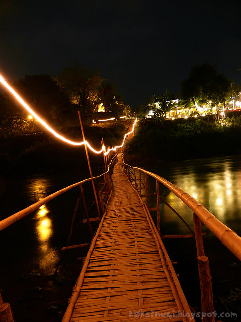 Luang Prabang Stilt Bridge over Nam Khan at Night