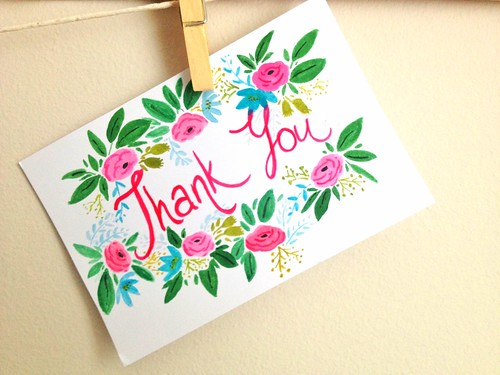 hand-painted hand-lettered naif art thank you card