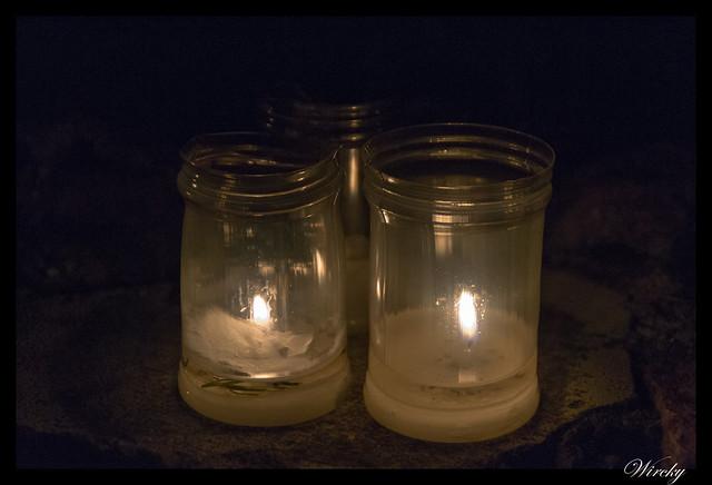 Noche velas Pedraza fotografías - Velas en el suelo