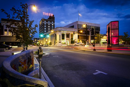 Downtown Columbia Missouri, Tiger Hotel, Central Bank of Boone County, Broadway and Eighth Street, Notley Hawkins Photrography, Columbia Missouri, Downtown Columbia Missouri, Blue Hour, Evening, long exposure, http://www.notleyhawkins.com/