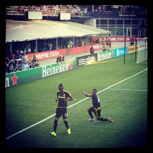 @KeiKamara celebrating #CrewSC's first goal tonight at #MapfreStadium. #Latergram