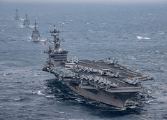 USS Carl Vinson (CVN 70), JS Sazanami (DD 113), JS Samidare (DD 106), and USS Wayne E. Meyer (DDG 108) steam in formation during training in the East China Sea, March 9. (U.S. Navy/MC2 Sean M. Castellano)