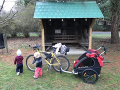 Stop #2 at Paeonian Springs with the twins on their first big bike ride