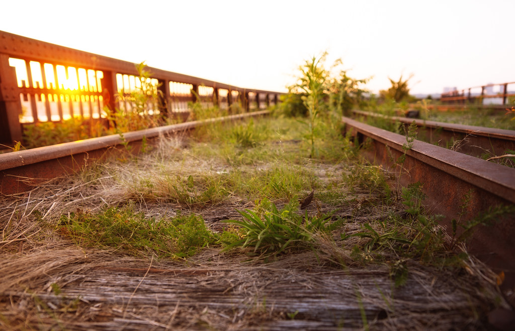 High Line at the Rail Yards - Sunset Over Railroad Tracks