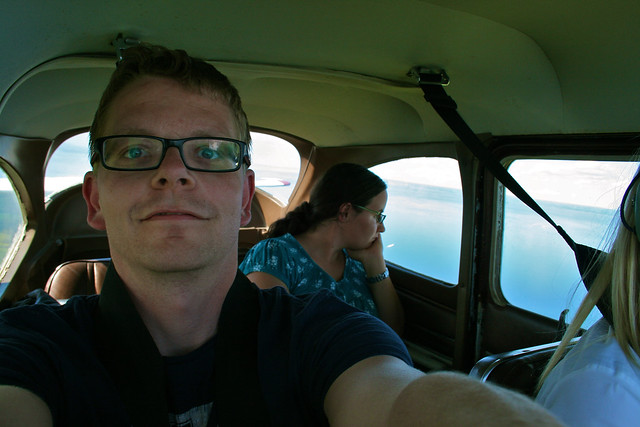 Us sitting in the flying Bettle (Cessna)