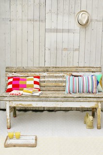wood & wool pillows in the garden