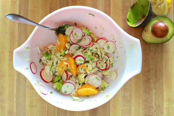 Simple & fresh Crab, Radish & Avocado Salad by TheNoshery.com